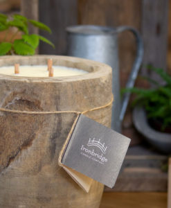 Large Natural Wood Garden Candle