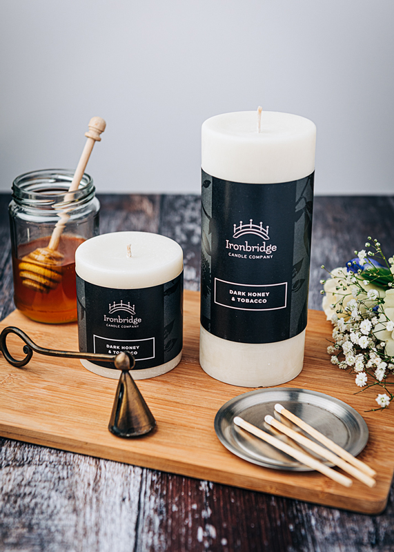 Dark Honey & Tobacco Pillar Candle