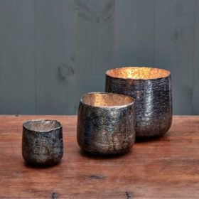 Aban Rustic Tea Light Collection - Charcoal