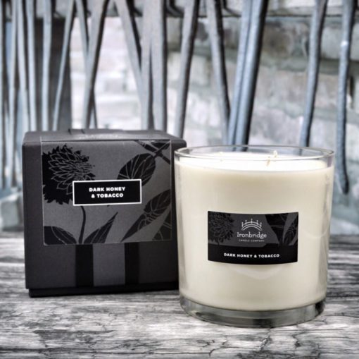 Dark Honey & Tobacco Tall 3-Wick Candle (Clear)
