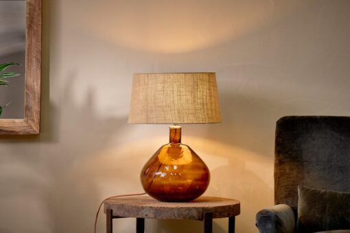 Baba Glass Lamp - Burnt Amber - Large Wide