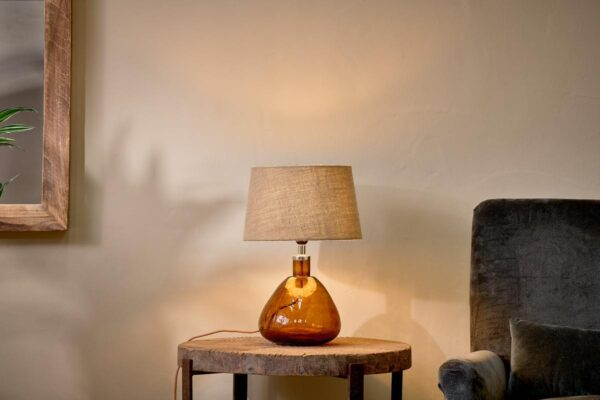 Baba Glass Lamp - Burnt Amber - Small Wide